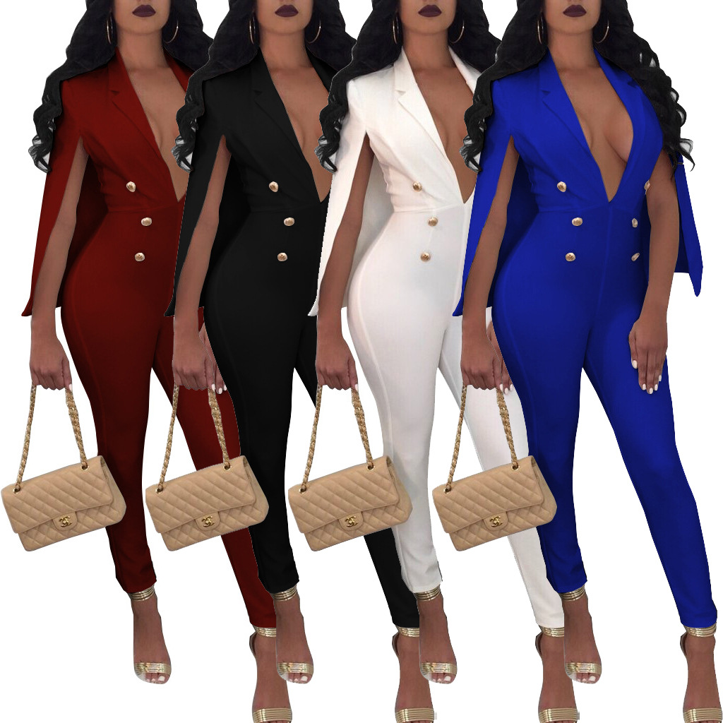 0bc799a2b21 NEW Office Party Lady EleJumpsuit Rompers Sexy Deep V Neck Button Full  Length Cape Cloak Jumpsuit Women Overalls Plus Size