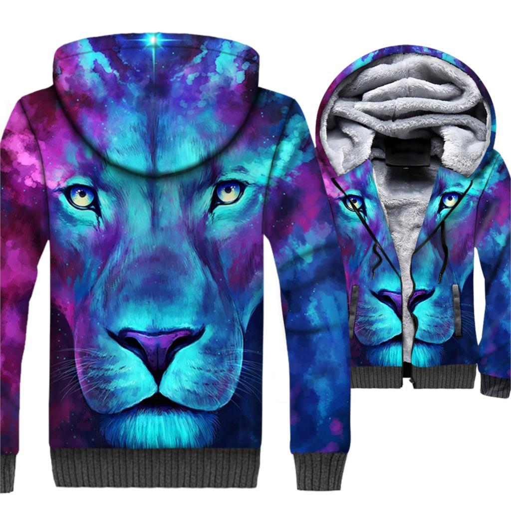 Hip Hop Streetwear Mens Sweatshort 2019 winter Sportswear Of Lion 3D Printed fashion Hoodies Plus thicken jackets Tracksuits