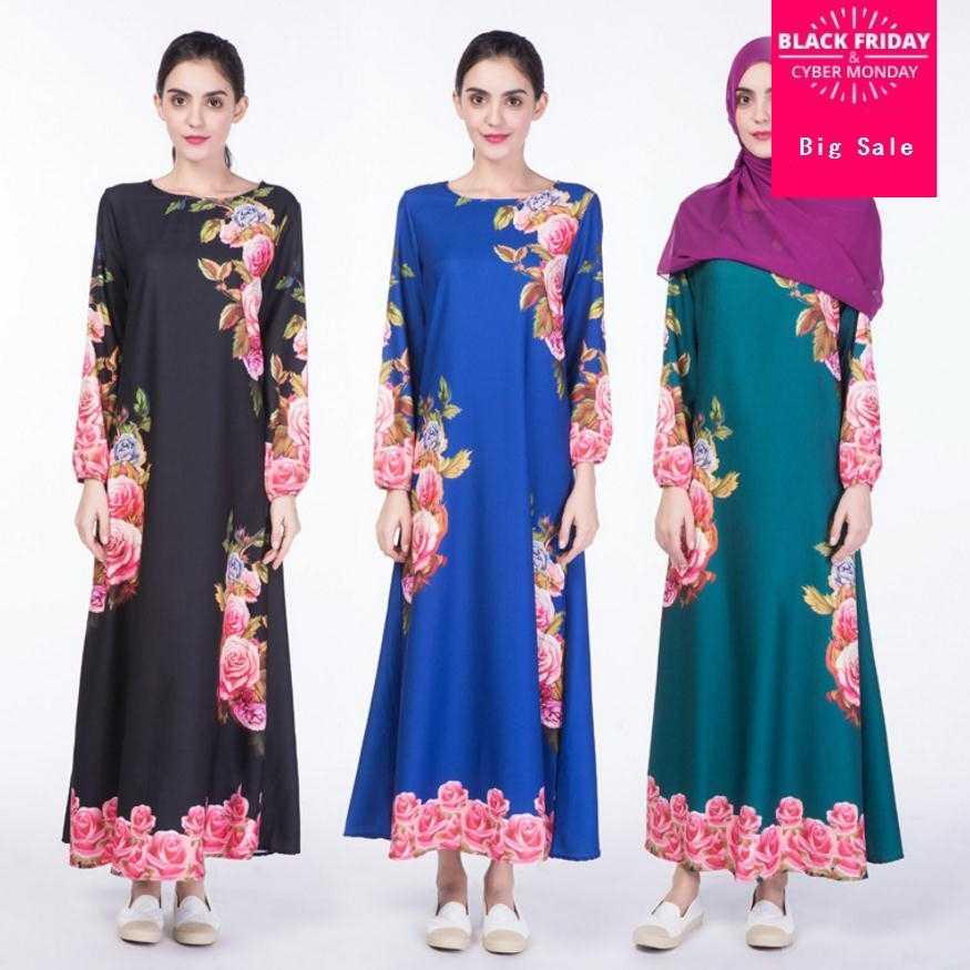 Adulto Casual Stampato Robe Musulmane Dubai Fashion Musulmano Vestito stampato tessuto Vestaglie Arabo Servizio di Culto Wj1707 dropship