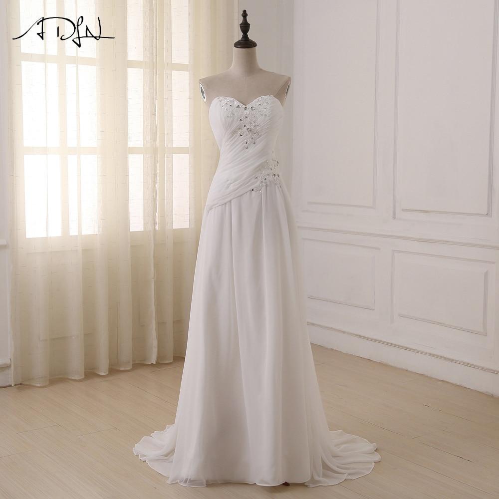ADLN billiga Plus Size Bröllopsklänningar Sweetheart Pleats Appliqued Beaded Chiffon Beach Brudklänning Vestidos de Novia På lager