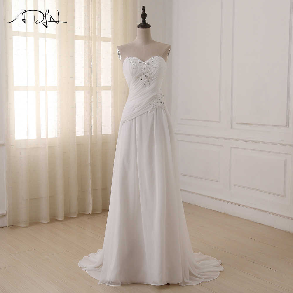 9949d3ece Detail Feedback Questions about ADLN Cheap Plus Size Wedding Dresses  Sweetheart Pleats Appliqued Beaded Chiffon Beach Bridal Gown Vestidos de  Novia In Stock ...
