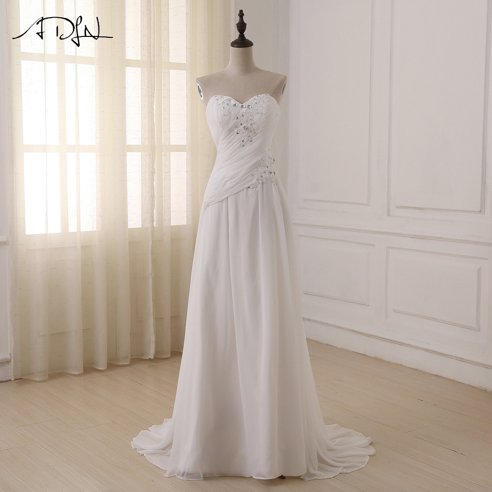 ADLN Cheap Plus Size Wedding Dresses Sweetheart Pleats Appliqued Beaded Sequin Chiffon Beach Bridal Gown Vestidos De Novia