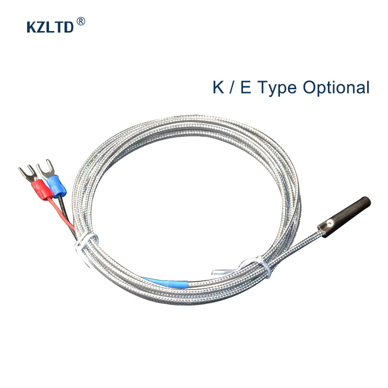 K-type Thermocouple Probe High Temperature Sensor Thermistor Sensor Probe K Thermocouple Probe 1M 2M for Temperature Controller