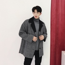 Fashion Casual Men's Jacket Autumn And Winter New M-L Plaid Lapels Loose Suit Jacket Dark Gray Personality Youth Popular basik kids jacket with smell dark gray lacquer