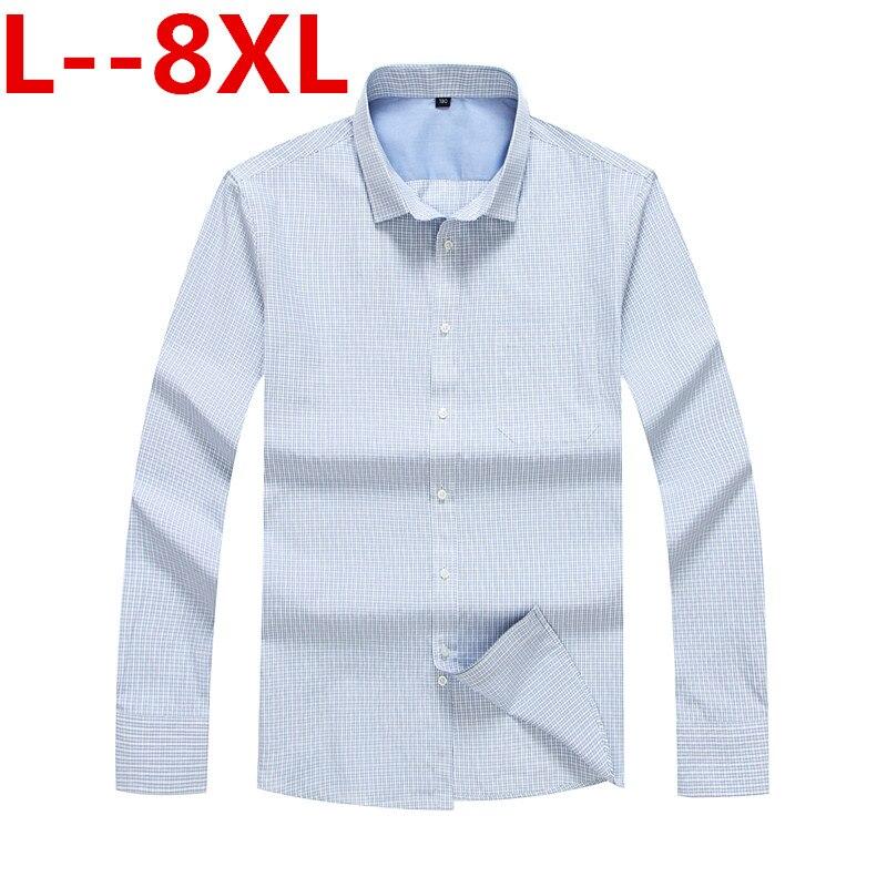 10XL 8XL 6XL chemise Oxford à carreaux pour hommes avec poche poitrine Smart décontracté classique contraste lâche fit chemise à manches longues