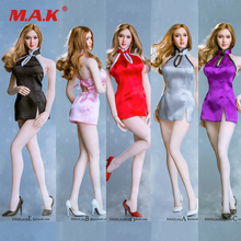 Collectibles 1/6 Scale Female Figure dress suit Sexy Open back Short Cheongsam Set with High heels for seemless TBleague body sgtoys s 09 1 6 scale female figure accessory woman sexy double split long skirt set with high heels