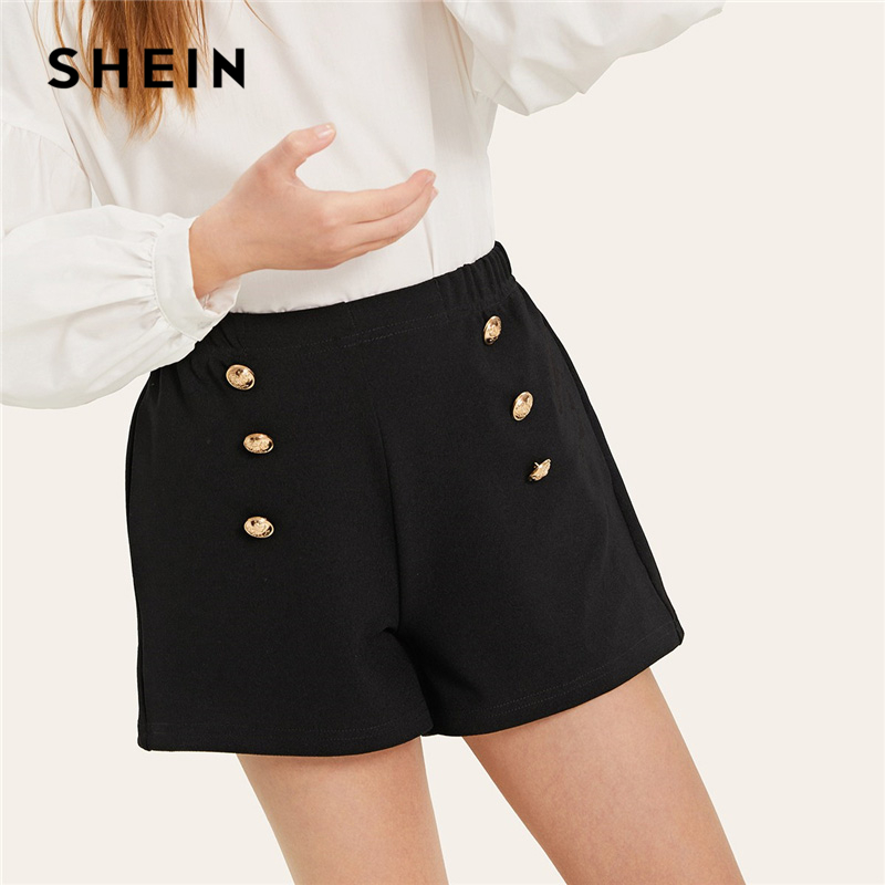 цена SHEIN Kiddie Black Double Breasted Elastic Waist Pocket Patched Shorts For Girls 2019 Summer Korean Fashion Kids Short Pants