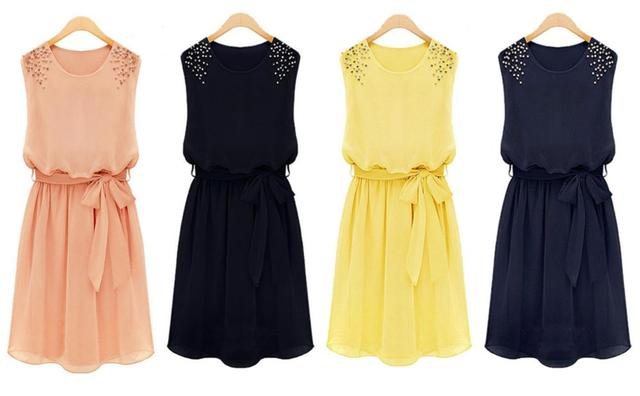 Summer Dresses NEW Korean Womens Fashion Chiffon Pleated Bow Sleeveless Shoulder Beads Dress 7 Colors Free Shipping