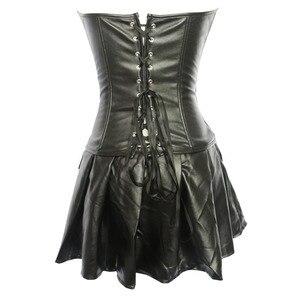 Image 3 - Faux leather zipper corset Gothic overbust waist cincher bustier clubwear Lingerie top with mini skirt S 6XL