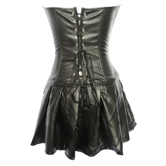 Faux leather zipper corset Gothic overbust waist cincher bustier clubwear Lingerie top with mini skirt S-6XL