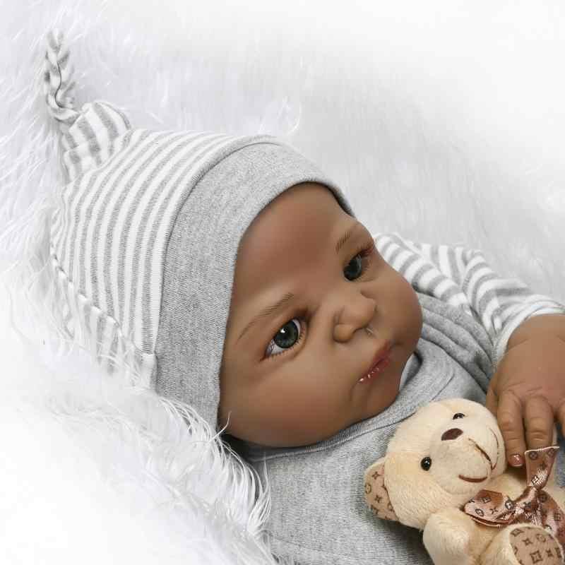 NPK 57 см Новое поступление черная кожа имитация новорожденного ребенка с окрашенными волосами лучший детский подарок полный силикон reborn baby dolls