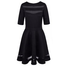 Бинты сексуальное платье Лето 2017 г. Платье черного цвета Европейский Стиль дамы по колено Винтаж сетки пикантные черные сапоги Платья для вечеринок Vestidos