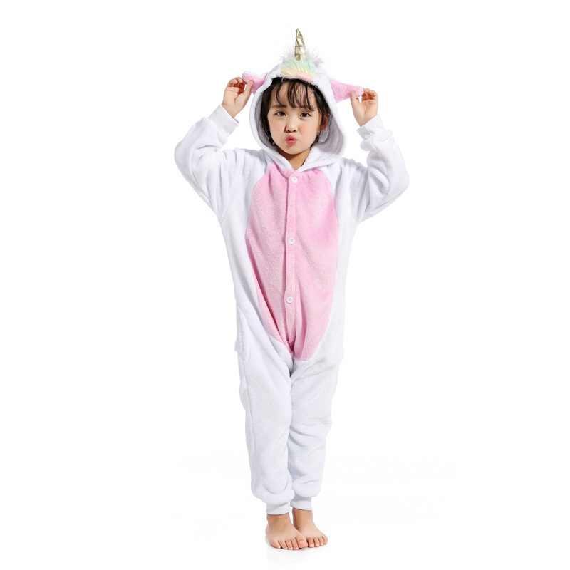 Новое животное Золотой Рог Пегас Единорог Pijamas Комбинезоны фланель с  капюшоном дети пижамы для мальчиков и c399a0204b956