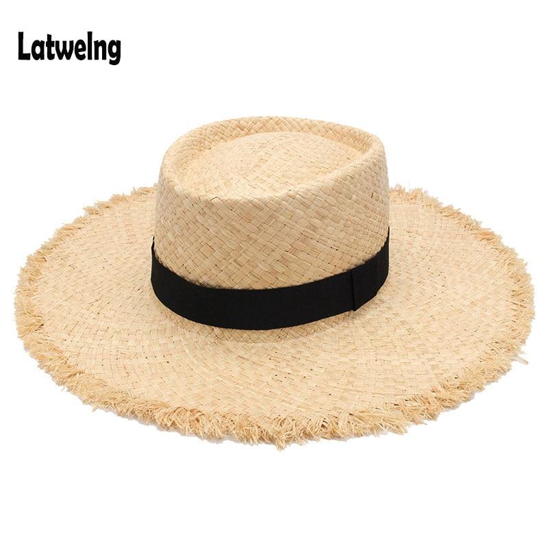 Wholesale New Belt Raffia Straw Summer Sun Visor Hats For Women Lady Foldable Fashion Handmade Cap Wide Brim Panama Beach Hat