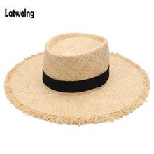 Ремень рафия соломенные летние солнцезащитные козырьки шляпы для женщин леди складные модные шапочки ручной работы с широкими полями Панама пляжная шляпа