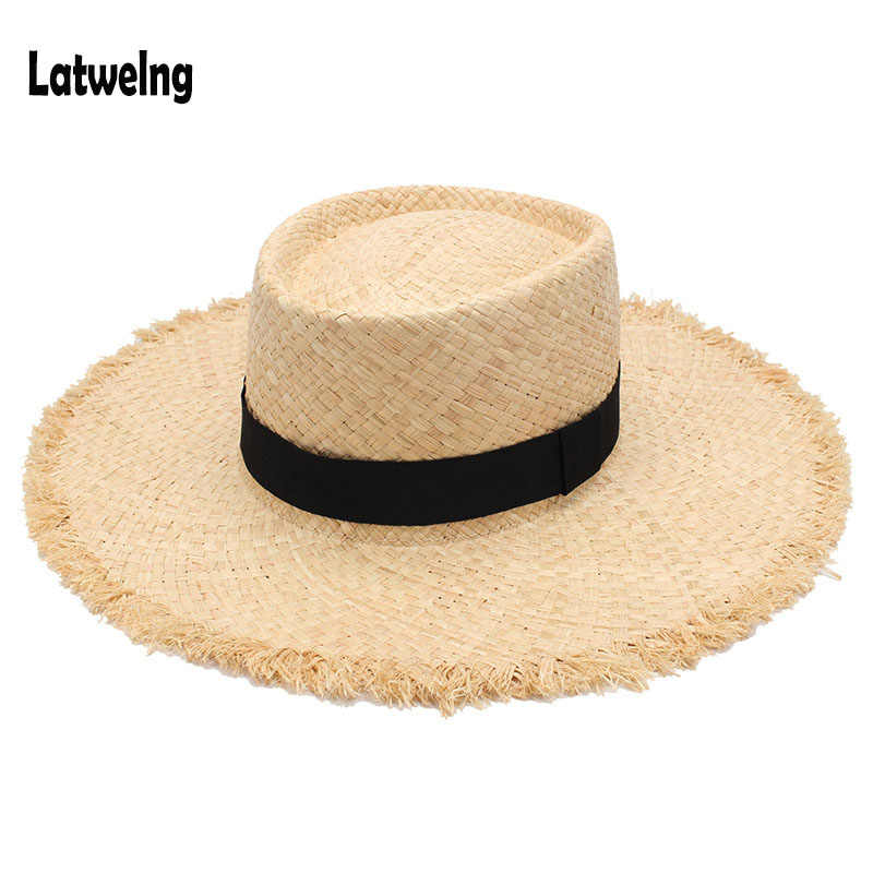 Wholesale New Belt Raffia Straw Summer Sun Visor Hats For Women Lady Foldable Fashion Handmade Cap Wide Brim Panama Beach Hat