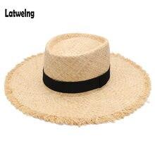 2018 Novo Cinto de Ráfia Palha chapéu de Sol de Verão Viseira Chapéus Para  As Mulheres Senhora Dobrável Moda Artesanal Cap Aba L.. 8e127116182