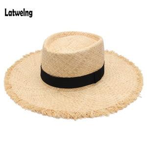 Wholesale New Belt Raffia Straw Summer Sun Visor Hats For Women Lady Foldable Fashion Handmade Cap Wide Brim Panama Beach Hat(China)
