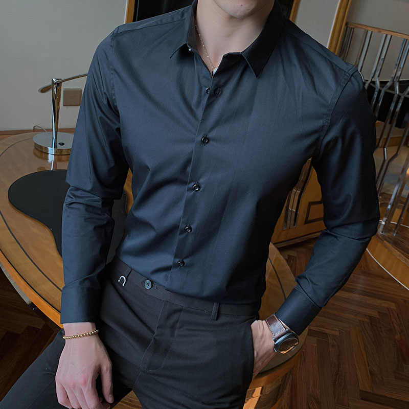 2020 Nieuwe Fashion Cotton Lange Mouwen Solid Slim Fit Mannelijke Sociale Casual Business Wit Zwart Dress Shirt 5XL 6XL 7XL 8XL