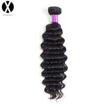 "X-Elements Human Hair Bundles Deep Wave 1 Bundles Non-Remy Hair Brazil Weaves Warna Asli 8 ""-26"" Sambungan Rambut"