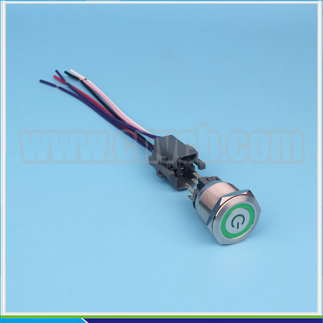set 25mm switch with wiring harness ip67 ring and power logo illuminated 12v  led switch