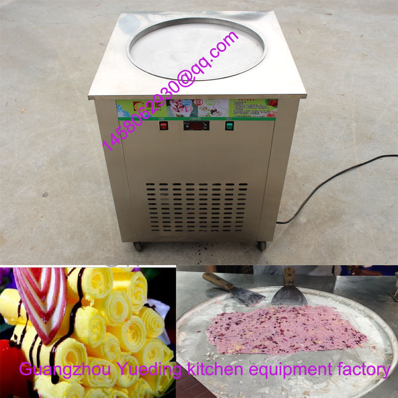 Flat single pan fried ice cream machine ice cream roller