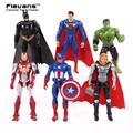 "Superheroes 6pcs/set Iron Man Thor Captain America Batman Superman Hulk PVC Action Figures Toys 4"" 10cm HRFG425"