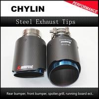 Universal 2Pcs ID 2 48 OD 3 54 Inch Car Akrapovic Exhaust Tips Muffler Pipe For