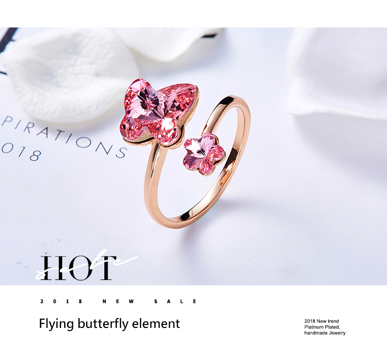18059580e012d Cdyle Women Gold Ring Embellished with crystals from Swarovski Butterfly  Ring Free Size Women Rings parure bijoux femme mariage