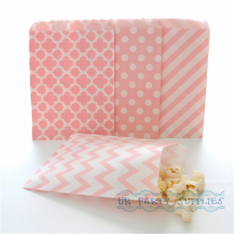 200pcs Pink Paper Bags Light Moroccan Quatrefoil Flat Bag Party Supplies Candy Buffet Wedding Favor In Gift Wring From