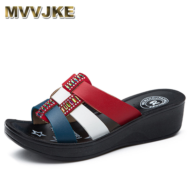 MVVJKE Summer new mother slippers fashion ladies slippers soft and comfortable casual large size shoes Woman wedges slippers fli ковры seintex toyota land cruiser 200 2007 2012 2012 lexus lx570 высокий борт