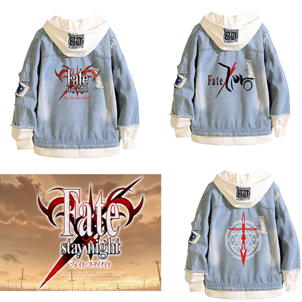 Fate/stay night Hoodies Cosplay Men women costumes Jackets cartoon casual Jean jacket Ripped denim top in fashionable print
