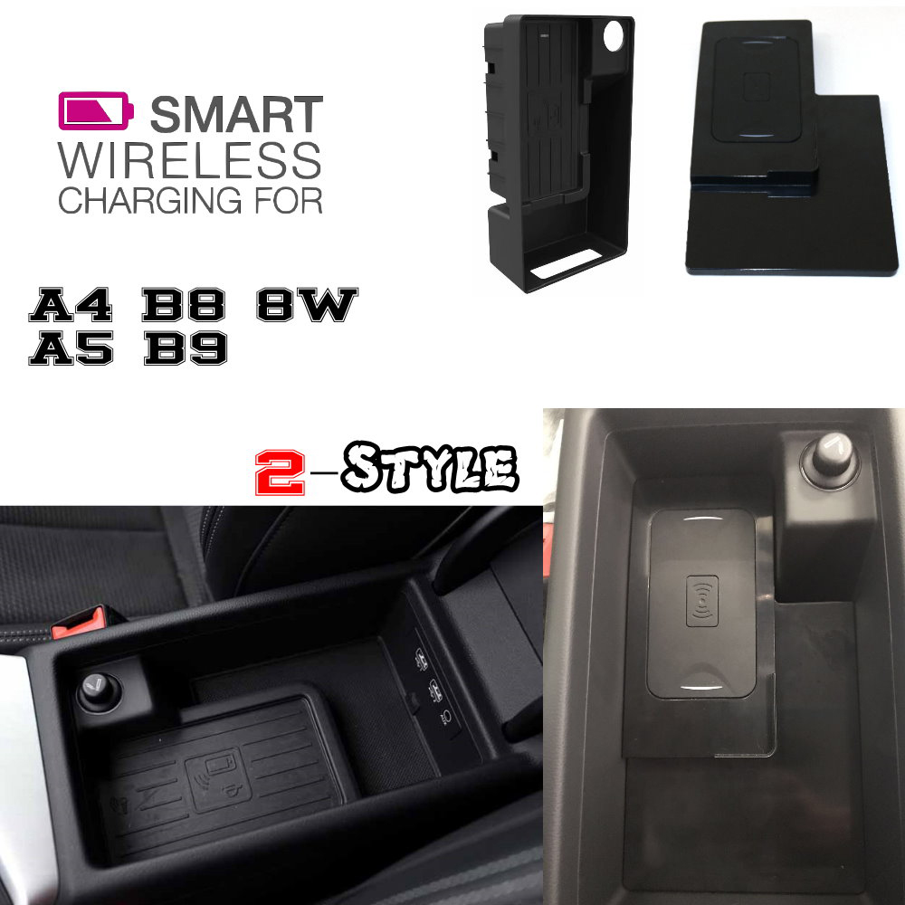 Dla Audi QI bezprzewodowa ładowarka ukryta bezprzewodowa ładowarka uchwyt do telefonu schowek na A4 A5 B9 8W