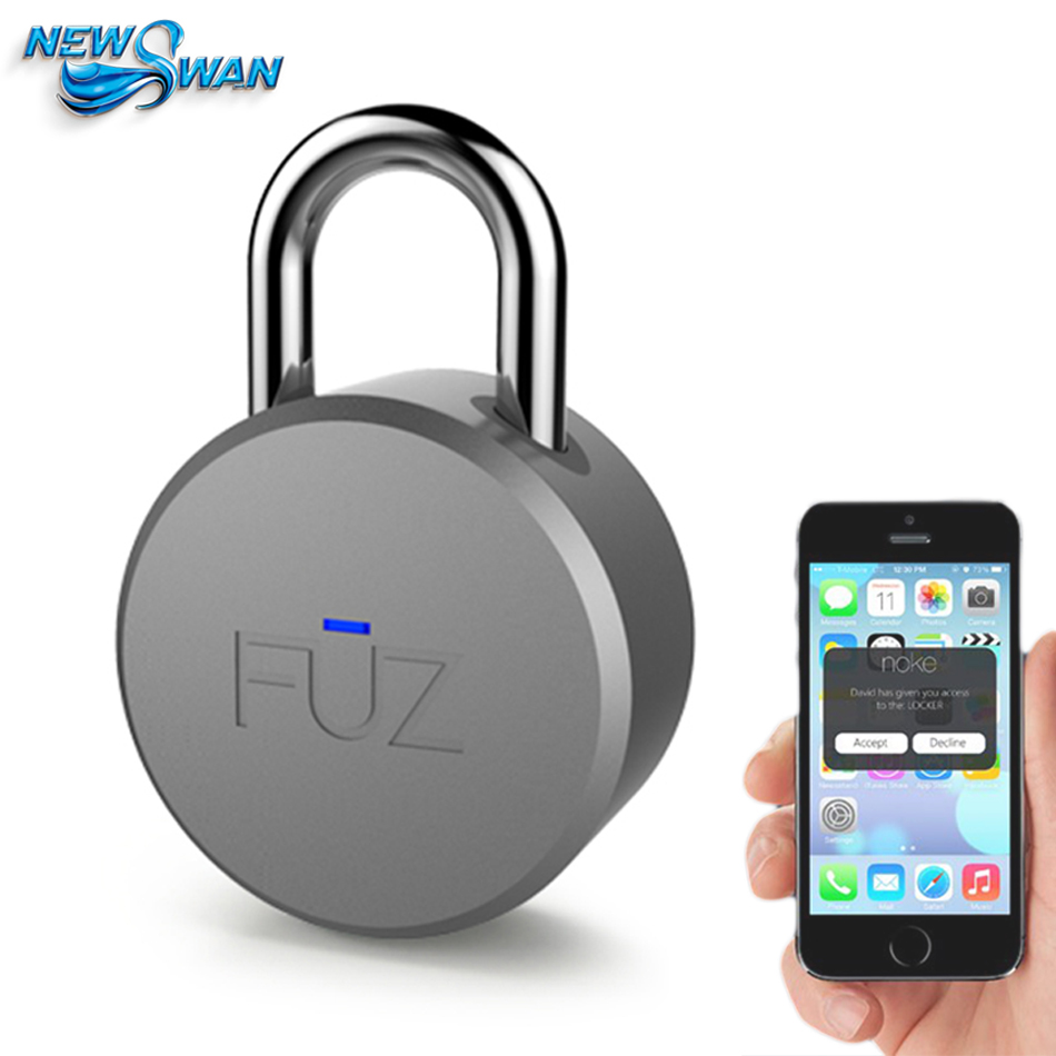 FUZ Noke Keyless Bluetooth Smart Padlock Keyless Smart Lock Mobile iOS/Android app Control Portable Round Lock 2016 orange manual and automatic bluetooth smart window lock bicycle lock luggage lock stainless steel padlock hot sale