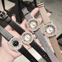 Новая Мода розовое золото дамские часы с бриллиантами новинки для женщин со стразами платье часы Роскошный кожаный ремешок для женщин квар
