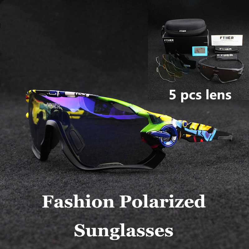 Men/Women Polarized 5 Lens Cycling Glasses Outdoor Sport Road Bike Cycling Eyewear Cycling Sunglasses Bicycle Hiking Fishing(China)