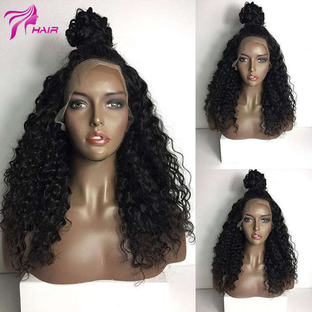 Human Hair Curly Wigs For Black Women 150 Density Full Lace Wig Ponytail Indian Virgin Human Lace Front Curly Wigs Bleached Knot
