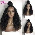 Pelucas Rizadas Del Pelo humano Para Las Mujeres Negras 150 Densidad peluca Llena Del Cordón Cola de Caballo peluca Indio Humano de la Virgen Del Frente Del Cordón Rizado Pelucas Blanqueados Nudo