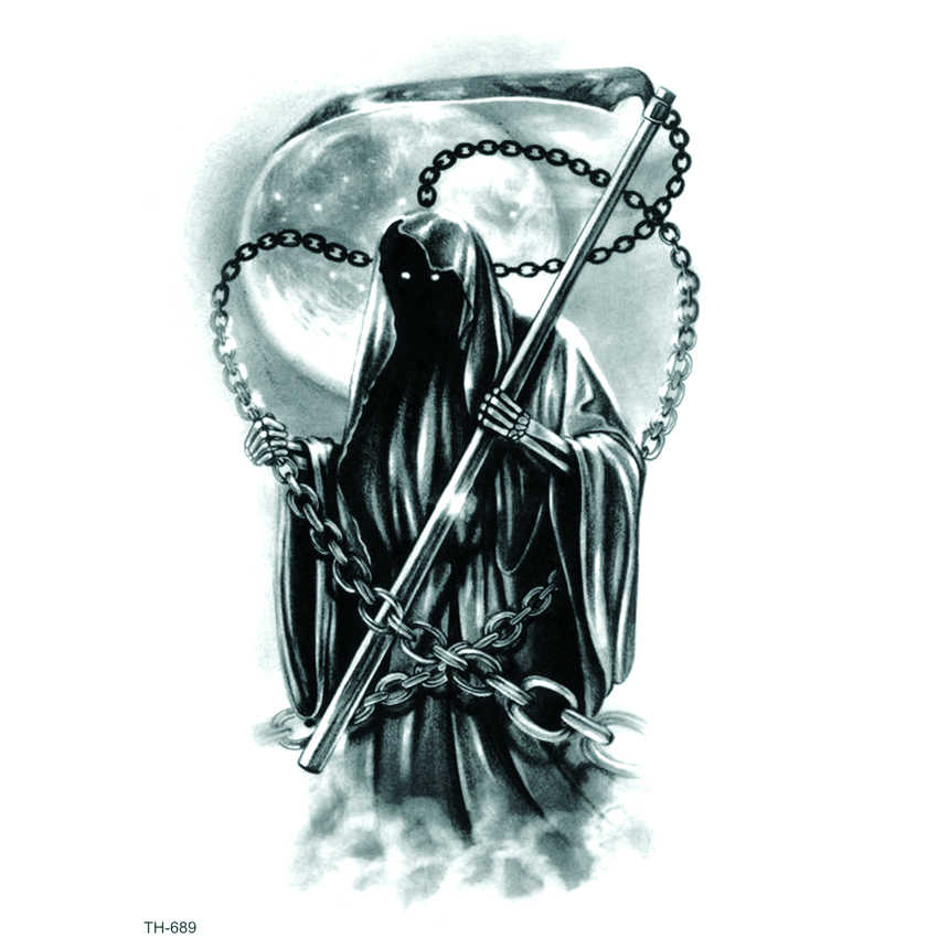 Grim Reaper Waterproof Temporary Tattoo Sticker Soul Reaper Tatoo Men Tattoo sleeve kids Tatuajes  Temporales Fake Tattoo