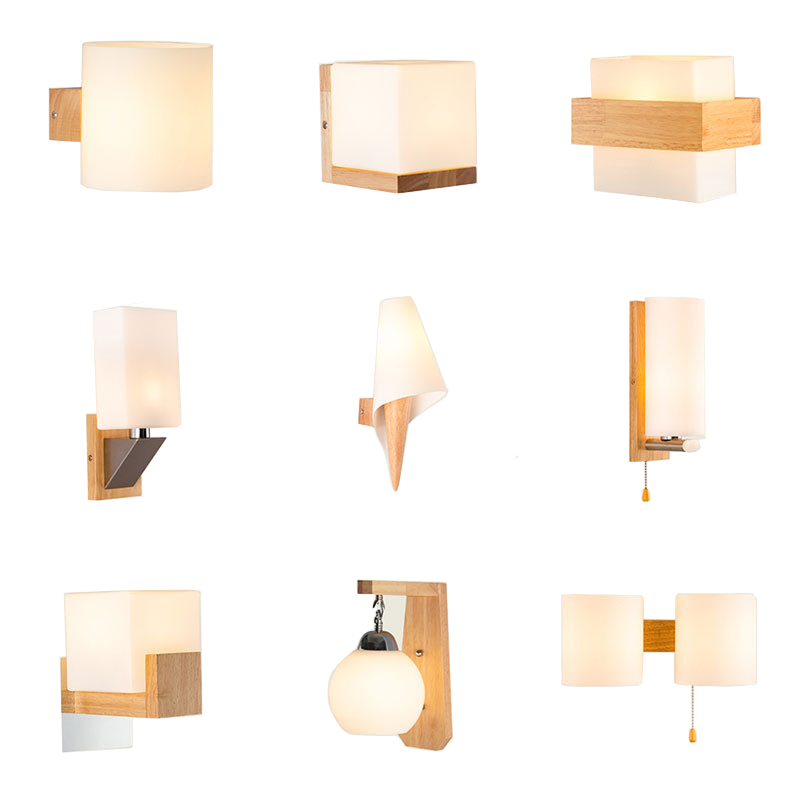 Decorative Nordic Sconce Wall Lights with Glass Shade Creative Home Indoor Bedside Led Wall Lamp Wood