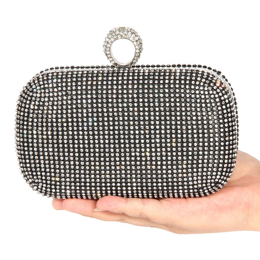 4c9a132b72 Evening Bags Women Clutch Bags Lady Wedding Rhinestones Handbags  Silver Gold Black Diamond Inlay