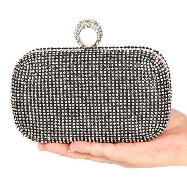 88d7df94ae88e Evening Bags Women Clutch Bags Lady Wedding Rhinestones Handbags Silver/Gold/Black  Diamond Inlay Ring Chain Party Clutch Bags