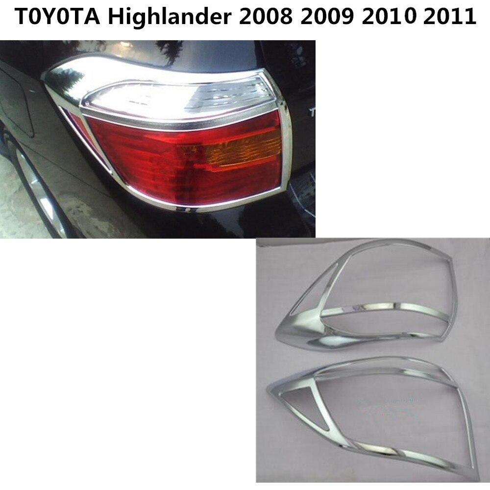 Pour Toyota Highlander 2008 2009 2010 2011 carrosserie Arrière queue rétro-Éclairage lampe détecteur cadre bâton chrome ABS trim 2 pcs