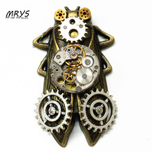 steampunk gothic punk rock cicada clock watch parts collar brooch pins pendant chain men women vintage