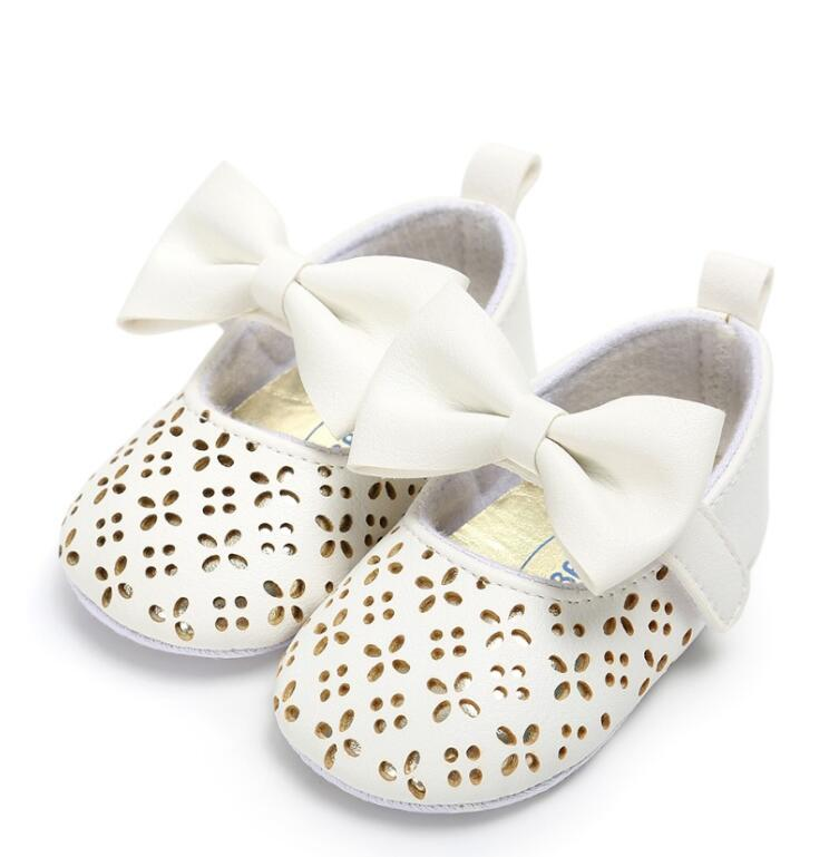 Princess Baby Girls Shoes Hollow Floral Style PU Leather Baby Moccasins With Big Bow 0-18M Newborn Kids Mary Jane