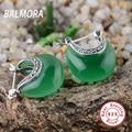BALMORA 100% real 925 sterling silver jewelry elegant earrings women fashion jewelry dark green earrings party gift MYS30283