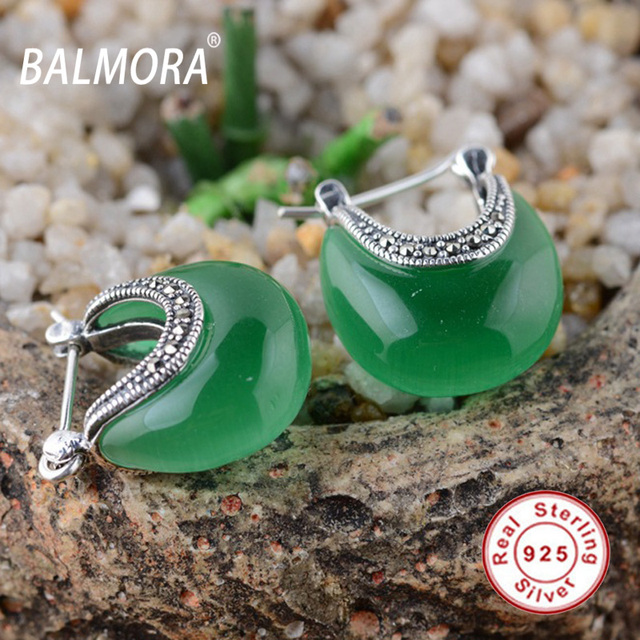 6322e3671 BALMORA 100% real 925 sterling silver jewelry elegant earrings women  fashion jewelry dark green earrings