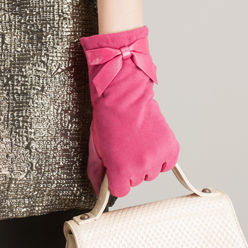 Kursheuel mode femmes arc gants en cuir importé chèvre daim gants en cuir gants en cuir femme hiver femmes gants - 5