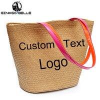 Women Beach Bag Personalized Custom Embroidery Text Name LOGO Large Capacity Woven Straw Bag Handbag Summer Shoulder Bag