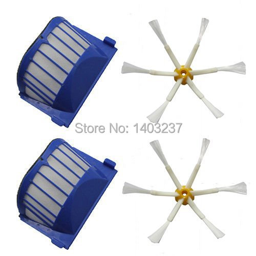 2 x Aero Vac Filter 2 x Side Brush 6-Armed for iRobot Roomba 500 600 Series 536 550 551 552 564 620 630 650 660 Vacuum Cleaner aero vac filter bristle brush flexible beater brush 3 armed side brush tool for irobot roomba 600 series 620 630 650 660